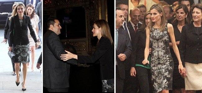 La reina Letizia Ortiz pone color con labios rojo pasi�n a su look gris de Hugo Boss en San Sebasti�n