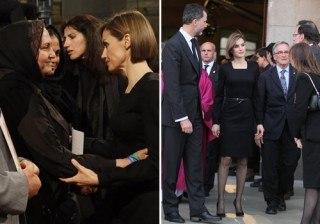 Letizia Ortiz, enlutada y derrochando cari�o en el funeral por las v�ctimas del accidente de Germanwings