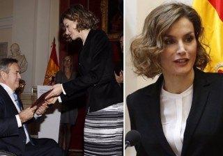Letizia Ortiz repite �total look� de Hugo Boss en blanco y negro en defensa y justicia para los discapacitados