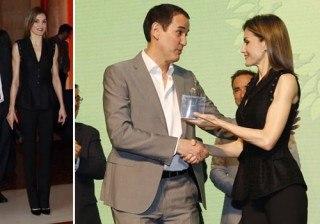 Fotos Letizia Ortiz estrena chaleco de Felipe Varela para brillar en negro en los Premios �Barco de Vapor� y �Gran Angular� width=
