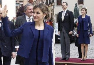 Letizia Ortiz no arriesga en el Premio Cervantes 2015: rescata un �total look� azul