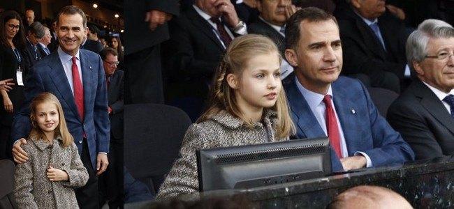 �Sorpresa en el Calder�n! La princesa Leonor celebra la victoria del Atl�tico de Madrid con su padre