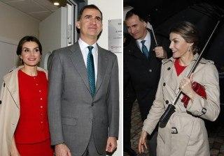 Letizia Ortiz, rojo Ricci y gabardina Burberry en su visita a Sevilla pasada por agua