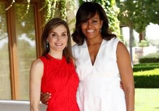 Letizia Ortiz y Michelle Obama: duelo �rojiblanco� en su c�mplice reencuentro en Madrid