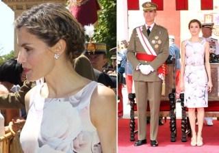 Letizia Ortiz inunda de feminidad Zaragoza con un mo�o trenzado y las rosas de Hugo Boss