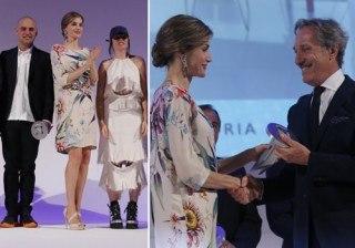 Letizia Ortiz luce piernas con su tropical look �Marca Espa�a� en los Premios Nacionales de la Moda 2015