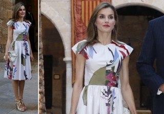 Letizia Ortiz sorprende en Palma estrenando vestido y dise�ador