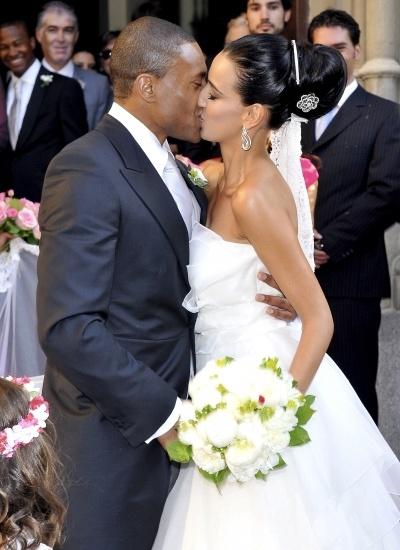 Silvia Nistal durante su boda con Julio Baptista en Madrid
