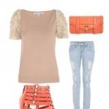 Look con una nota de color: nude y naranja