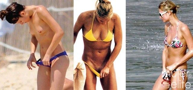 Las famosas pilladas muestran sus partes �ntimas en bikini
