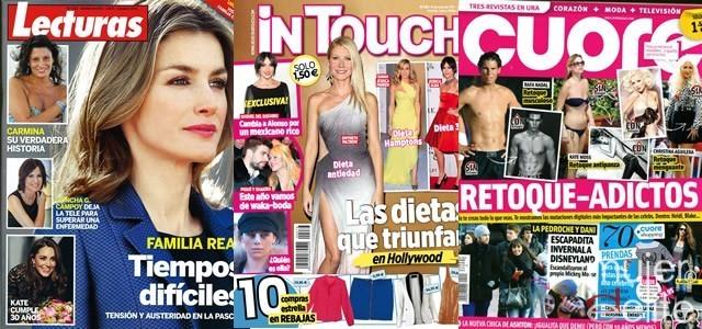 Portadas revistas Lecturas, InTouch y Cuore a 11/01/12