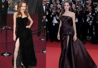 Angelina Jolie enseña muslo con sus vestidos