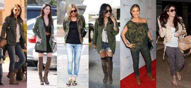 Paula Echevarría, Megan Fox, Kate Moss, Vanessa Hudgens, Elsa Pataky y Kim Kardashian se apuntan al look militar