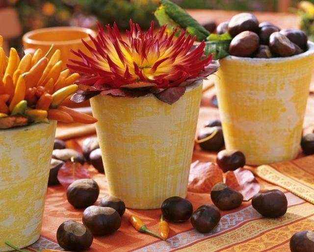 Centros de mesa con flores y frutas secas propias del oto�o