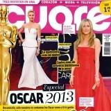 La portada de la revista Cuore con Jennifer Aniston y Charlize Theron en los premios Oscar 2013