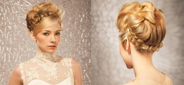 las trenzas contrastan con zonas lisas y diseos de inspiracin griega que se dibujan muy pegados a la cabeza para las novias de la