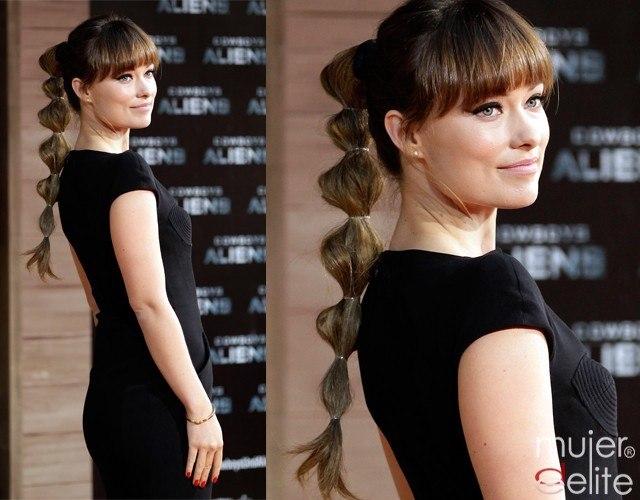 Olivia Wilde pone de moda el peinado de la coleta de gomas