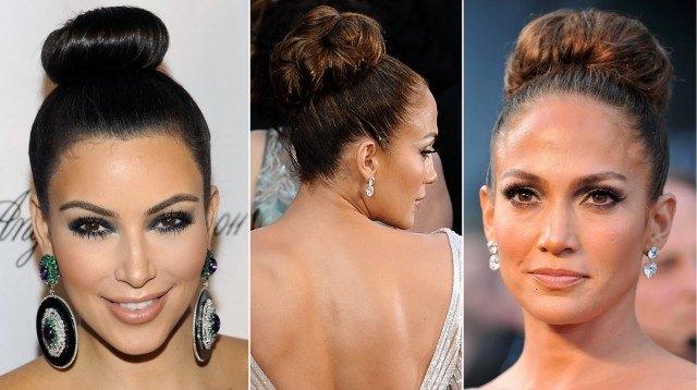 """Los moños altos """"high chignon"""" como los que lucen Kim Kardashian y Jennifer López, en tendencia esta Navidad"""