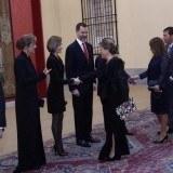 Don Felipe y do�a Letizia, en la recepci�n ofrecida por el presidente de Colombia en el Palacio de El Pardo