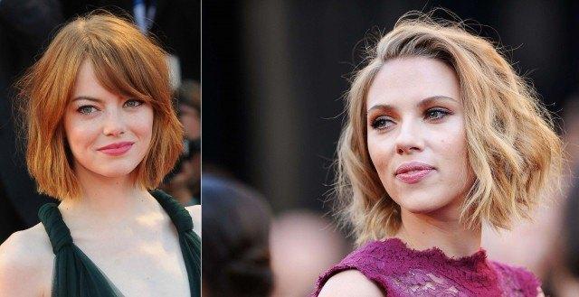 Foto Emma Stone luciendo un corte de pelo chop y Scarlett Johansson, un muy capeado shaggy