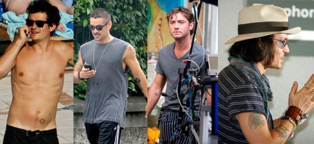 Foto Orlando Bloom, Colin Farrell, Jude Law y Johnny Depp lucen tatuajes