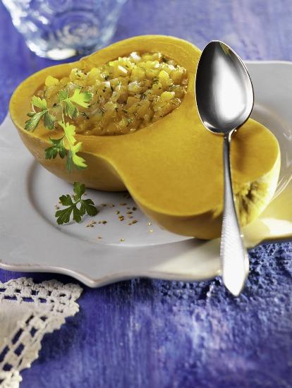 Foto Calabaza rellena de arroz integral