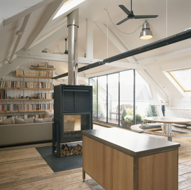 Ventilador de techo en un tico loft de dise o fotos mujerdeelite - Ventiladores de techo diseno ...