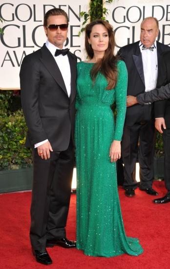 Foto Angelina Jolie con vestido verde esmeralda