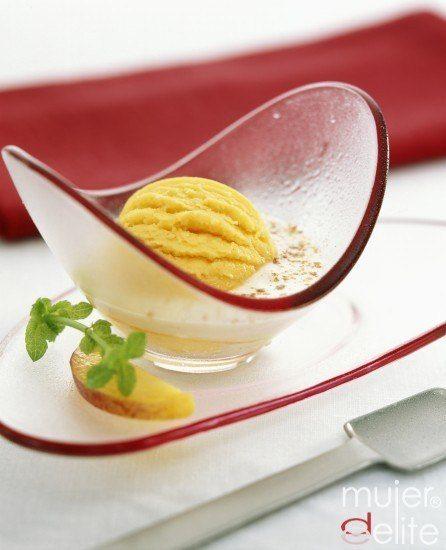 Foto Helado de mermelada de melocotón, una delicia apta para principiantes