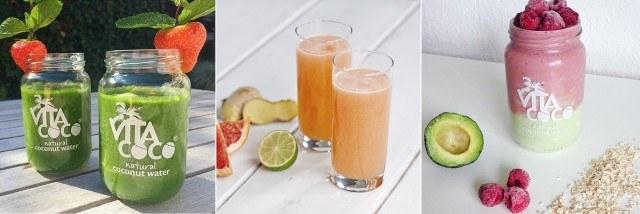 Foto Smoothies sanos y naturales con agua de coco