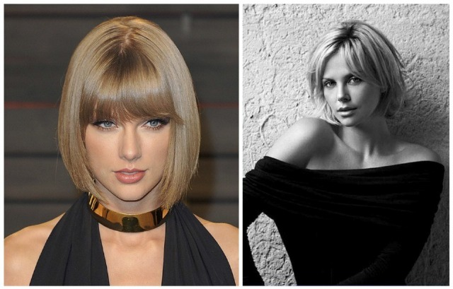 Foto Taylor Swift con beveled bob y Charlize Theron con layered bob