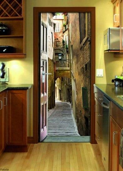 Foto Vinilo decorativo en la puerta de la cocina