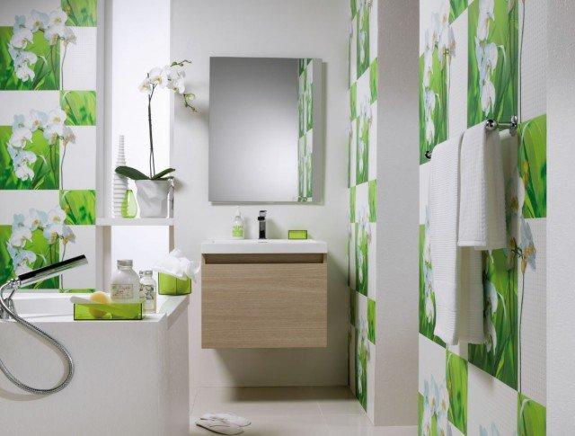 Foto Un soplo de aire fresco en tu baño gracias al papel pintado