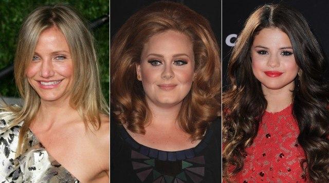 Foto Cameron Díaz, Adele y Selena Gómez, ejemplos de rostros redondos