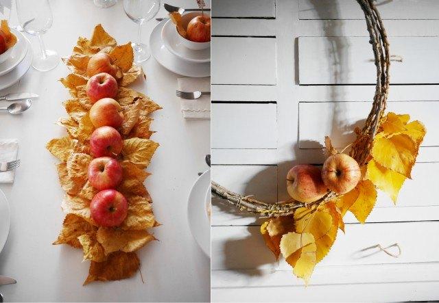 Foto Un centro de mesa y una corona rústica para el otoño