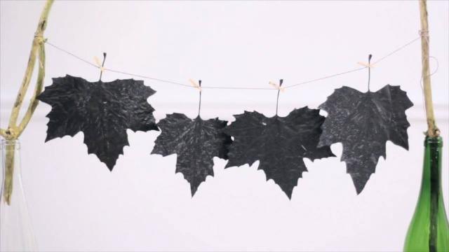 Foto Paso 3 etiquetas decorativas con hojas secas para el otoño