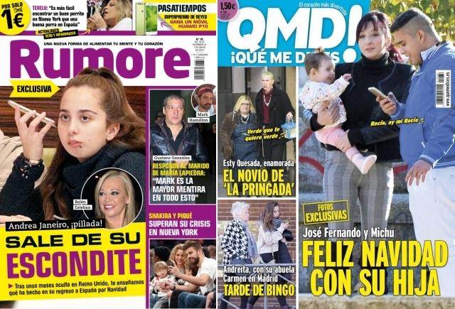 Foto El regreso de Andrea Janeiro y José Fernando y Michu con su hija, portada de revistas