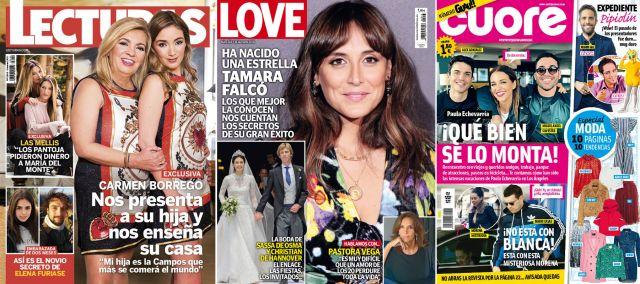 Carmen Borrego, Tamara Falcó y Paula Echevarría, portada de revistas