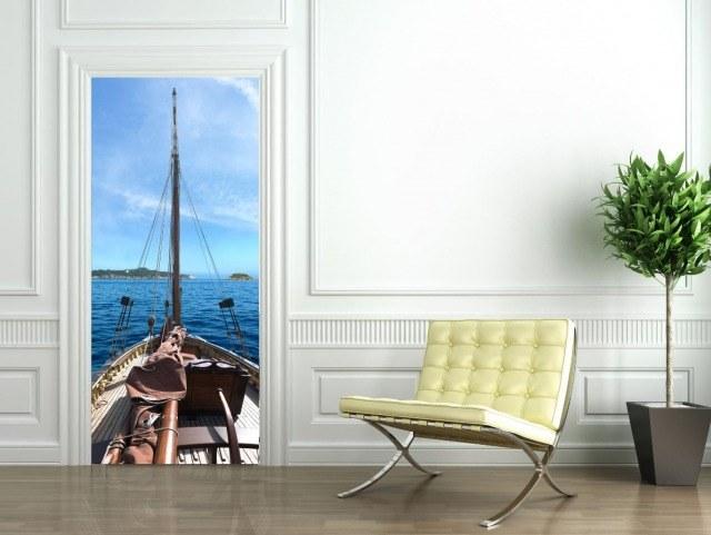 Foto Stickers para puertas de temática marinera para una decoración de estilo mediterráneo