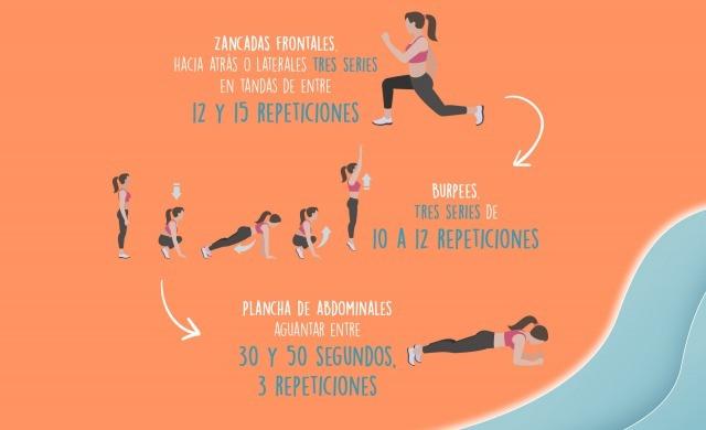 Foto Zancadas frontales, burpees y plancha de abdominales para concluir tu entrenamiento en la playa