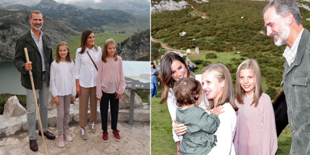 Foto Los Reyes y sus hijas, la princesa Leonor y la infanta Sofía, durante su recorrido por los Picos de Europa