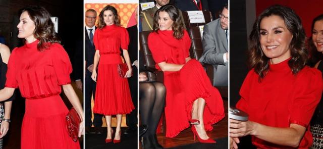 Foto La reina Letizia sorprende con un total look rojo vintage en la V edición de los Premios Nacionales de la Industria de la Moda