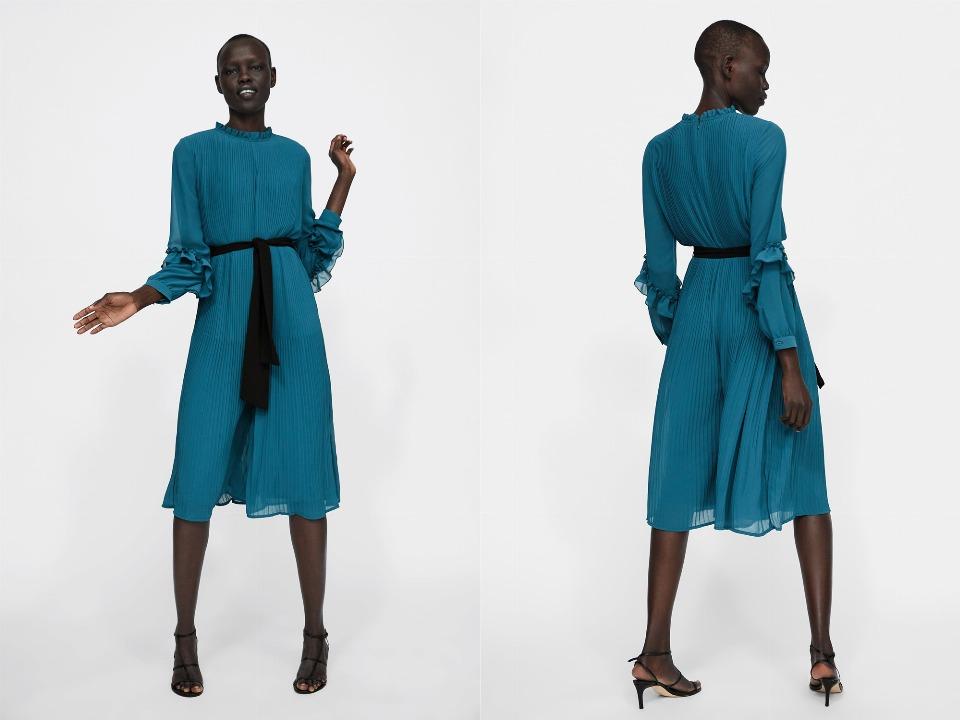 Zara De Vestido Cobalto Mono Azul Plisado wXqZxvHnFf